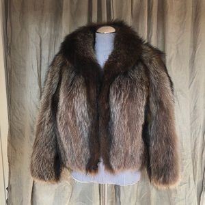 Vintage beaver fur zip up bomber jacket L